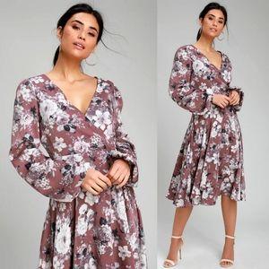 Lulus Lunette Dusty Purple Floral Wrap Dress NEW